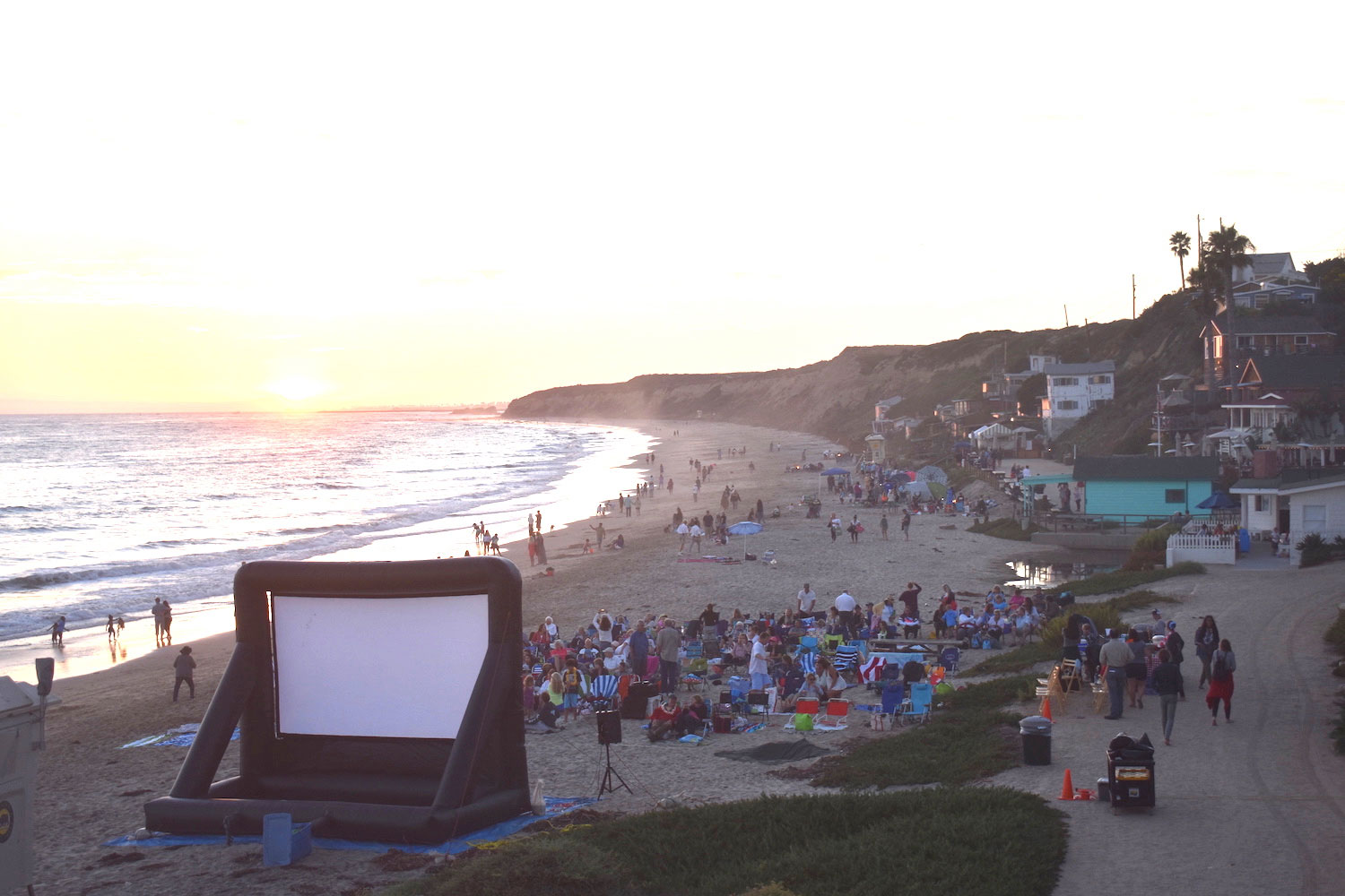 Movies on the Beach movie screen