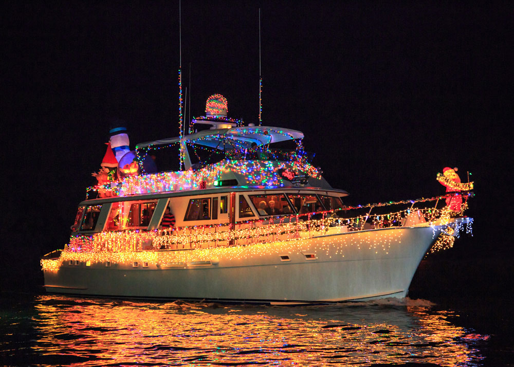 Newport Beach Christmas Boat Parade decorated boat