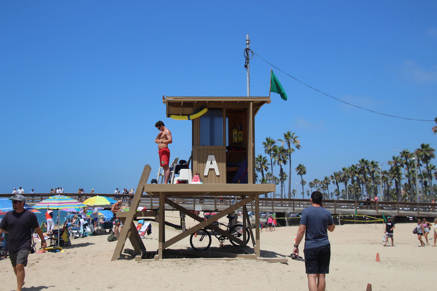 Police Files Lifeguard tower on sand