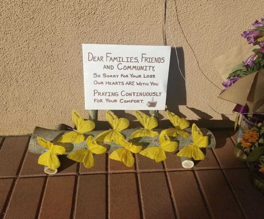 Tribute to Kobe and friends left outside at Newport Coast Starbucks