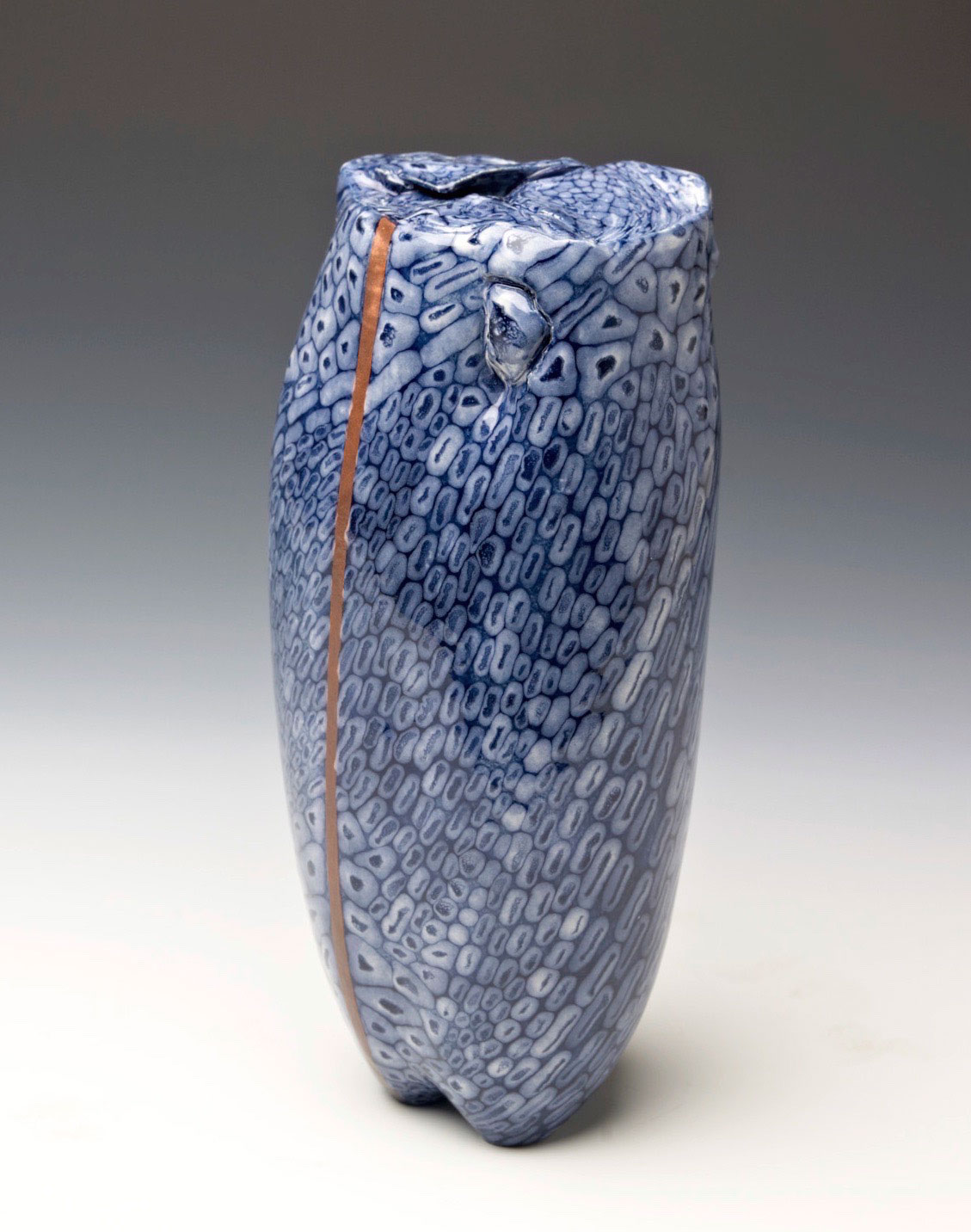 Weird ugly pottery ceramic pot vase handmade signed by Artist cool glaze spotted looks like a spaceship