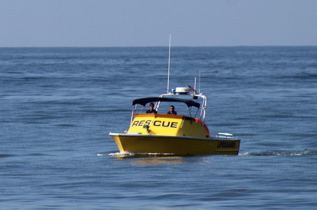 Lifeguards yellow rescue boat