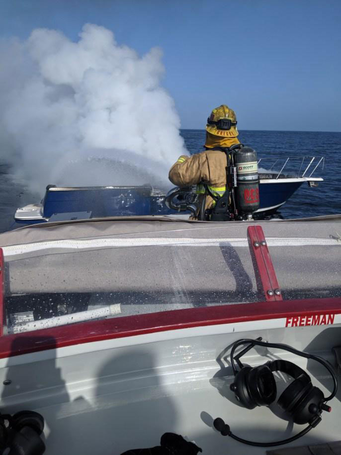 Police Files Boat catches fire
